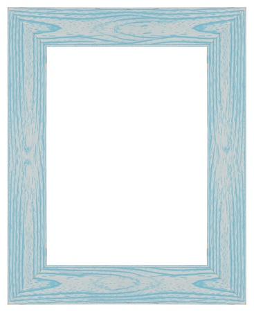 Blue wooden frame for painting or picture on white background. photo