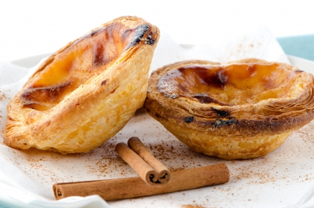 Pastel de nata, typical pastry from Lisbon - Portugal. photo