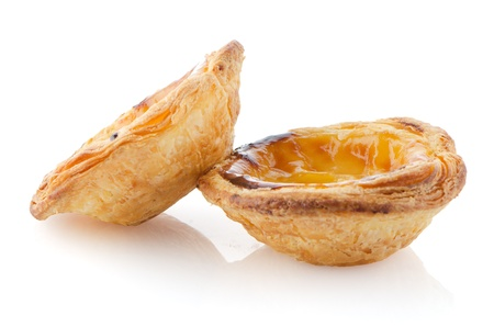 nata: Pasteis de nata, typical pastry from Lisbon - Portugal, isolated on white background. Stock Photo