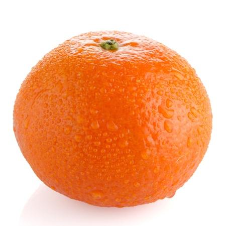 Ripe tangerine or mandarin isolated on white background photo