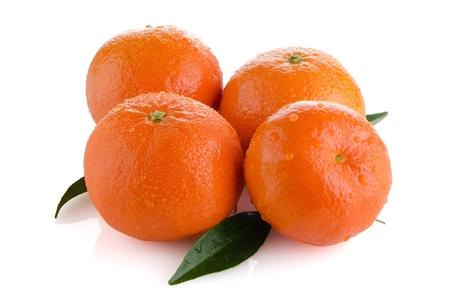 Ripe tangerines or mandarin isolated on white background Stock Photo - 18805545
