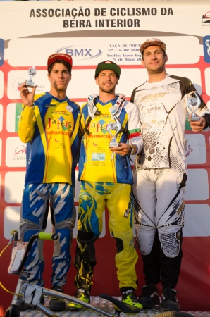 off ramp: CASTELO BRANCO, PORTUGAL - MAY 4: P.Domingos, L.Sousa and B.Berto at the 2nd stage of the Portuguese BMX race Cup the  on may 4, 2013 in Castelo Branco, Portugal. Editorial