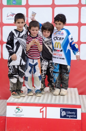 off ramp: CASTELO BRANCO, PORTUGAL - MAY 5: Pupils Podium at the 3rd stage of the Luso-Spanish BMX race Trophy the  on may 5, 2013 in Castelo Branco, Portugal. Editorial