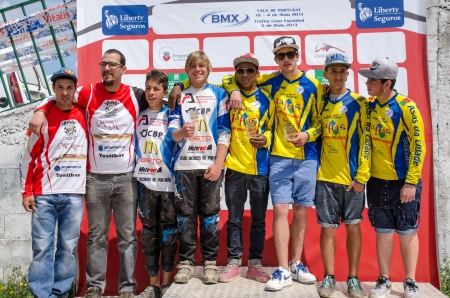 CASTELO BRANCO, PORTUGAL - MAY 5: Teams podium at the 3rd stage of the Luso-Spanish BMX race Trophy the  on may 5, 2013 in Castelo Branco, Portugal. Stock Photo - 19416350