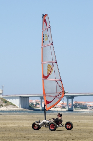 ILHAVO, PORTUGAL - MAY 12: Leonel Tome on a Windcar during the Festival do Vento  on may 12, 2013 in Ilhavo, Portugal.