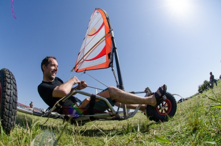 ILHAVO, PORTUGAL - MAY 12: Ralph Hirner on a Windcar during the Festival do Vento  on may 12, 2013 in Ilhavo, Portugal.