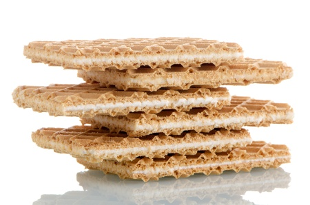 Vanilla wafers on white reflective background  photo