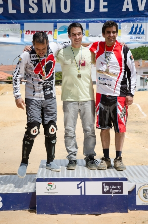 ESTARREJA, PORTUGAL - MAY 26: Open 4 podium at the 2nd Portugal Bmx Open on may 26, 2013 in Estarreja, Portugal. Stock Photo - 19778347