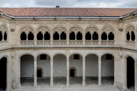 simetry: VALLADOLID, SPAIN - SEPTEMBER 22: Patio del Colegio de San Gregorio of Valladolid, Castilla y Leon, Spain, on September 22, 2012. The Colegio de San Gregorio is the main building of the Museo Nacional de Escultura. Editorial