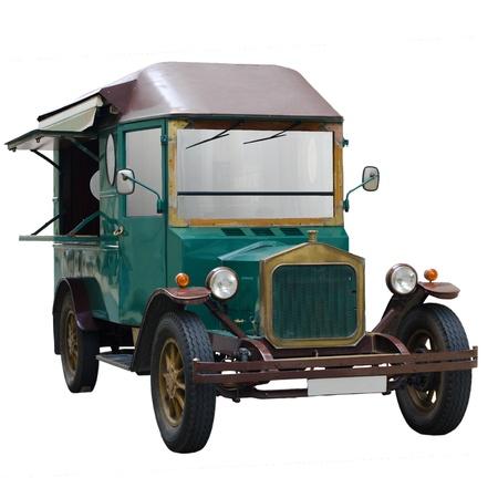 panel van: Old classic van isolated on white background.