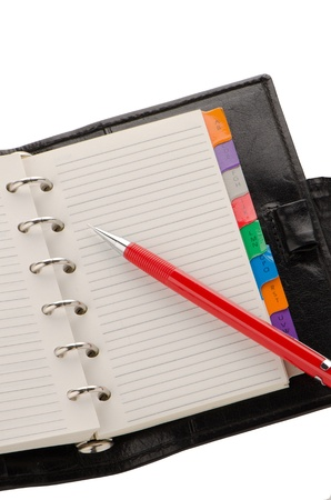 date book: Open note book with lined pages free date space and red pencil.