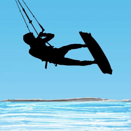 Kiteboarder aerial jump silhouette on a water and blue sky background.