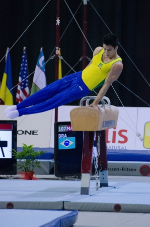 mariano: ANADIA, PORTUGAL - JUNE 21: Arthur Mariano (BRA) during the Art Gymnastics FIG World Cup Challenge on june 21, 2013 in Anadia, Portugal.
