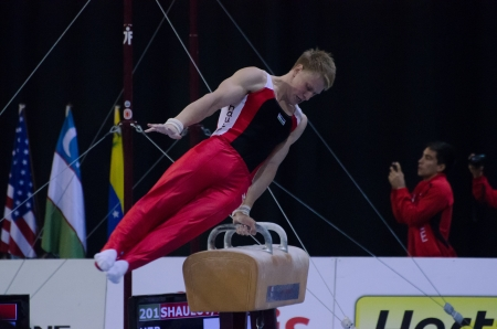 ANADIA, PORTUGAL - JUNE 21: Eduard Shaulov (UZB) during the Art Gymnastics FIG World Cup Challenge on june 21, 2013 in Anadia, Portugal.