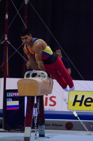 medalist: ANADIA, PORTUGAL - JUNE 21: Jhony Perez (COL) during the Art Gymnastics FIG World Cup Challenge on june 21, 2013 in Anadia, Portugal.