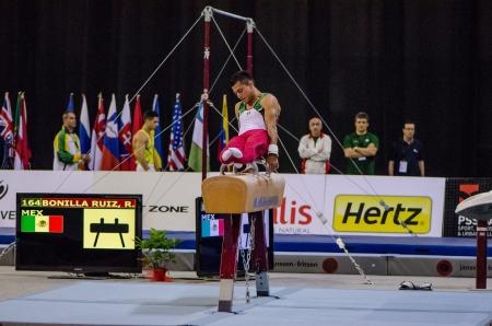 ruiz: ANADIA, PORTUGAL - JUNE 21: Rodolfo Ruiz (MEX) during the Art Gymnastics FIG World Cup Challenge on june 21, 2013 in Anadia, Portugal. Editorial