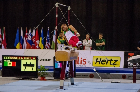 ruiz: ANADIA, PORTUGAL - JUNE 21: Rodolfo Ruiz (MEX) during the Art Gymnastics FIG World Cup Challenge on june 21, 2013 in Anadia, Portugal. Editorial