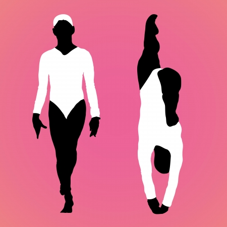 vector illustration of a girls gymnast silhouettes vector