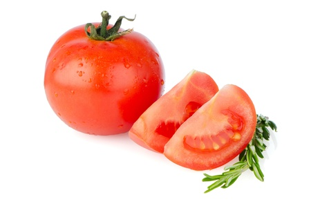 Red tomatoes isolated on white background. photo