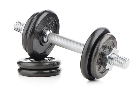 weight lifting: Fitness exercise equipment dumbbell weights on white background