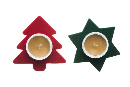 Red star and green pine tree  Christmas decorations with candles isolated on white background. photo