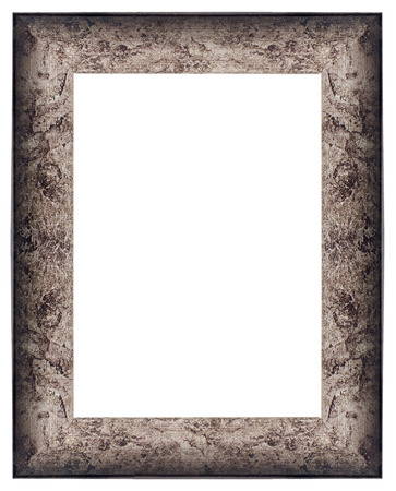 Stylish Silver Frame isolated on white background. photo