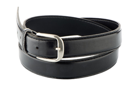 Elegant black belt isolated on white background. photo