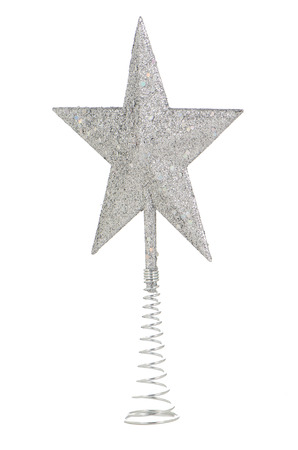 Silver Christmas star isolated on white background. photo
