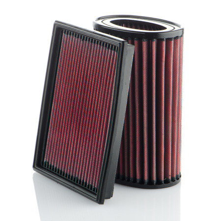 accessories horse: Air filters on white background. Vehicle Modification Accessories. Stock Photo