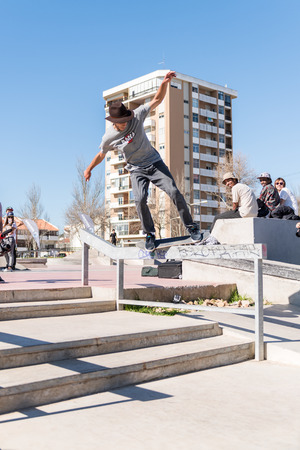 laurence: CASCAIS, PORTUGAL – MARCH 8 2014: Laurence Aragao during the Levis Skateboarding Collection Event.