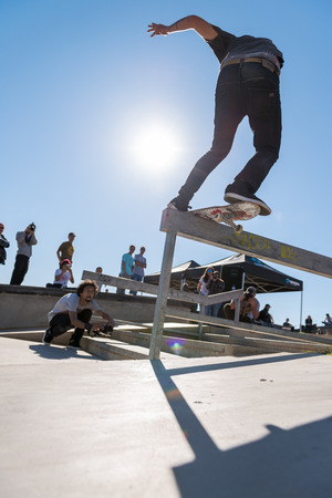 levis: CASCAIS, PORTUGAL – MARCH 8 2014: Ruben Gamito during the Levis Skateboarding Collection Event.