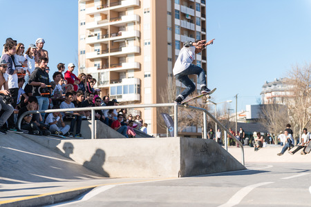 levis: CASCAIS, PORTUGAL – MARCH 8 2014: Afonso Nery during the Levis Skateboarding Collection Event.