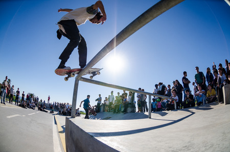 levis: CASCAIS, PORTUGAL – MARCH 8 2014: Joao Allen during the Levis Skateboarding Collection Event.