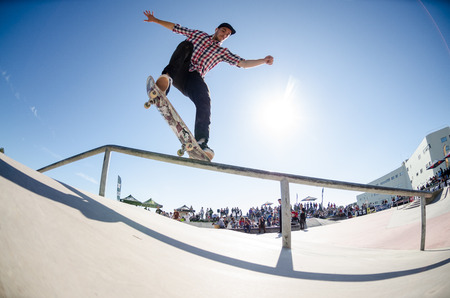 CASCAIS, PORTUGAL - APRIL 6 2014  Raphael Castilho during the 4th Stage of the DC Skate Challenge by Fuel TV  Редакционное