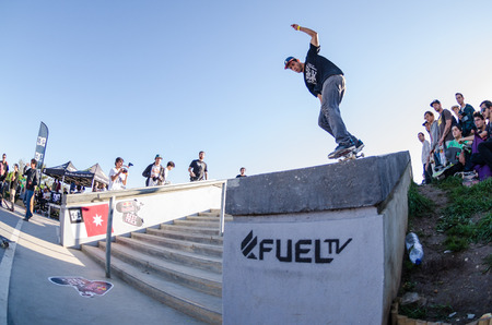 laurence: CASCAIS, PORTUGAL - APRIL 6 2014  Laurence Aragao during the 4th Stage of the DC Skate Challenge by Fuel TV