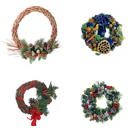 Set of four Christmas door garland isolated on white isolated background. photo