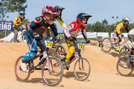 freeride: ESTARREJA, PORTUGAL - MAY 11, 2014: School Athletes trainings during the Taca de Portugal Bmx.