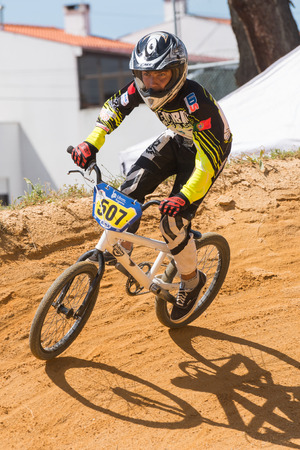 off ramp: ESTARREJA, PORTUGAL - MAY 11, 2014: Andre Matos during the Taca de Portugal Bmx.