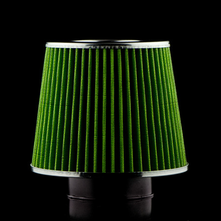 high torque: Air cone filter on black background. Vehicle Modification Accessories. Stock Photo