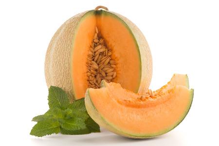 melon fruit: Juicy honeydew melon on a white background. Stock Photo