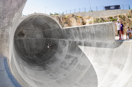 belmonte: BELMONTE, PORTUGAL - JULY 12, 2014  Miguel Semens from Spain during the The Lost Bowl Event