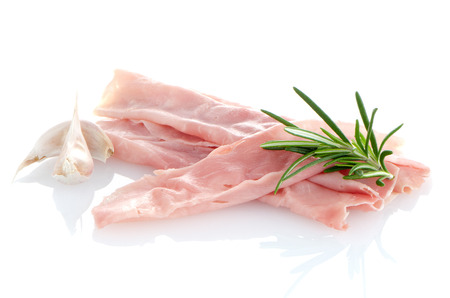fresh shaved ham on a white background photo