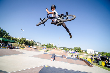 FELGUEIRAS, PORTUGAL - AUGUST 17, 2014: Sauro Agostinho\ during the 1st Stage of the DVS BMX Series 2014 by Fuel TV.\