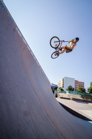 FELGUEIRAS, PORTUGAL - AUGUST 17, 2014: Joao Pires during the\ 1st Stage of the DVS BMX Series 2014 by Fuel TV.\