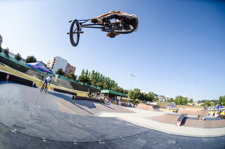 FELGUEIRAS, PORTUGAL - AUGUST 17, 2014: Tiago Tavares during\ the 1st Stage of the DVS BMX Series 2014 by Fuel TV.\