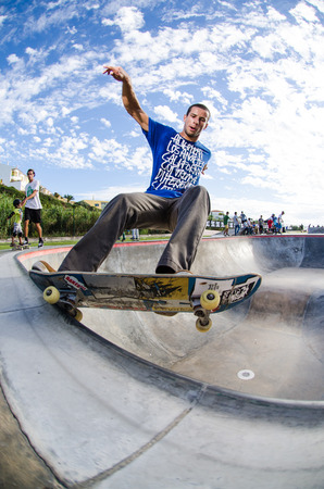 laurence: ERICEIRA, PORTUGAL - SEPTEMBER 7 2014: Laurence Aragao at the international skate demo DC Initials Tour.