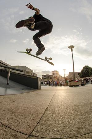 MAIA, PORTUGAL - SEPTEMBER 10 2014: Chris Cole at the international skate demo DC Initials Tour. Editorial