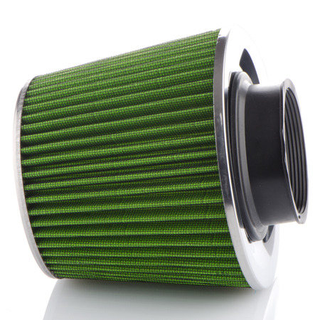 high torque: Air cone filter on white background. Vehicle Modification Accessories. Stock Photo