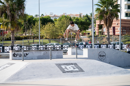 ALBUFEIRA, PORTUGAL - OCTOBER 5, 2014: Pedro Roseiro during the 3rd Stage DC Skate Challenge by Fuel TV.