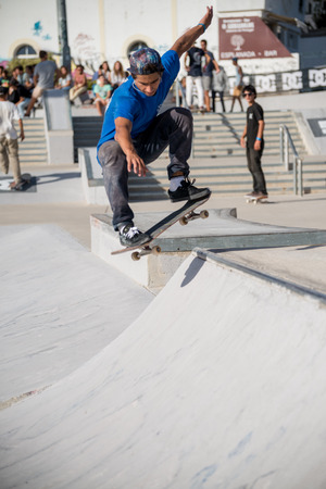 ALBUFEIRA, PORTUGAL - OCTOBER 5, 2014: Rui Ferreira during the 3rd Stage DC Skate Challenge by Fuel TV.